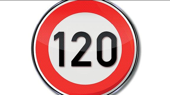 Ein Straßenschild welches ein Tempolimit von 120 km/h kennzeichnet.