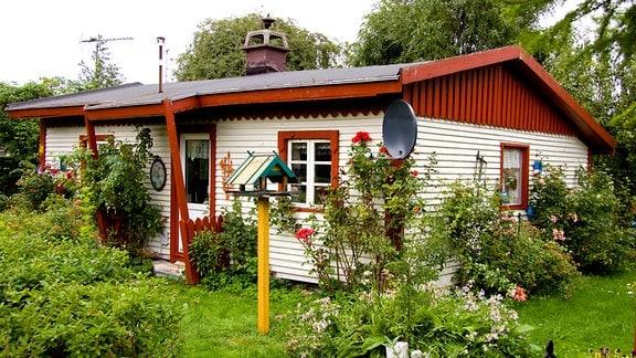 Idyllischer Kleingarten mit Laube