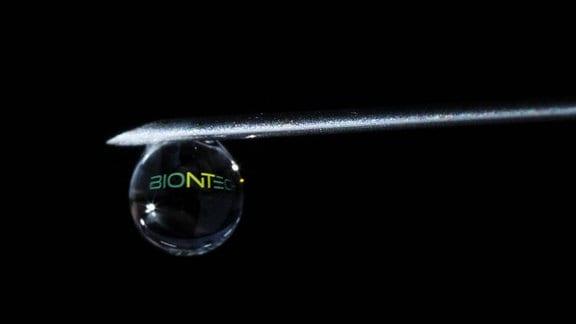 Der Schriftzug des Biotechnologie-Unternehmens Biontech zeichnet sich in dem Tropfen an einer Spritze ab.