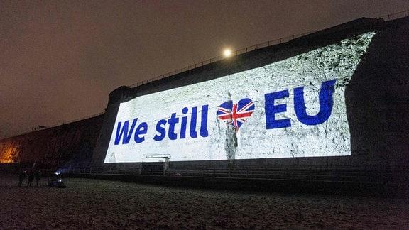 We still love EU wird auf eine Mauer projiziert