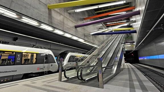 Die Station Bayerischer Bahnhof des City-Tunnels 2013 in Leipzig