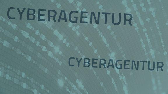 Eine Tafel mit dem Schriftzug Cyberagentur