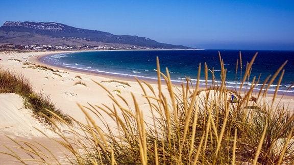 Blick auf den Strand von Tarifa in Andalusien