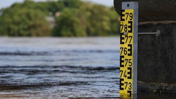 Hochwasser der Elbe am 07.06.2013 an der Schaumburgbrücke in Schönebeck/Sachsen-Anhalt