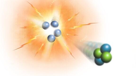 Künstlerische Darstellung einer Kernfusionsreaktion