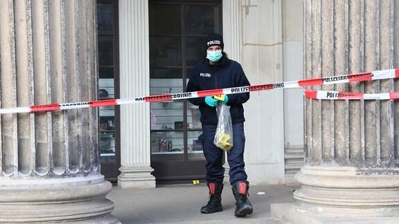 Mitarbeiter des Sicherheitsdienstes alarmierten die Dresdner Polizei am frühen Morgen über den Einbruch.