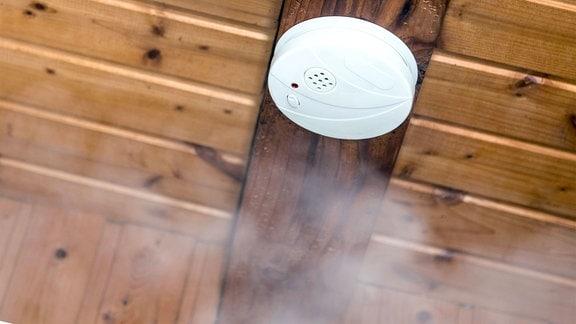 Rauchwarnmelder an Wohnungsdecke, im Vordergrund heller Rauch.
