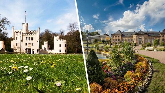 Collage aus dem Jagschloss Letzlingen und der Orangerie Gotha