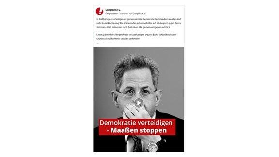 Campact-Antiwerbung gegen Hans-Georg Maaßen bei Facebook.