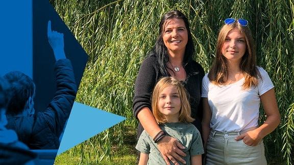 Eine Frau steht mit ihren Töchtern vor Pflanzen im Grünen. Daneben ist eine Collage mit blau gefärbten Dreiecken zu sehen.