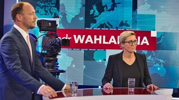 MDR-Wahlarena am 13.09.2021 - Marco Wanderwitz (CDU) und Susanne Hennig-Wellsow (Die Linke)
