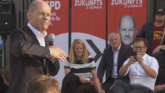 SPD-Kanzlerkandidat Olaf Scholz bei einer Rede
