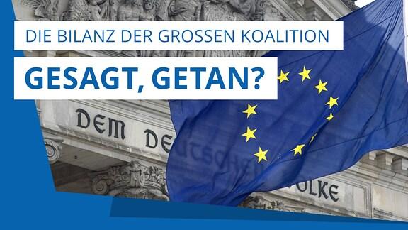 """Koalitionsvertrag 2018: """"Gesagt, getan?"""" – Die Bilanz der Großen Koalition. Das Teaserbild zeigt ein Themenbild und trägt den Titel """"Gesagt, getan?"""" – Die Bilanz der Großen Koalition"""