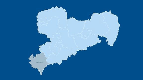 Auf einer Karte von Sachsen ist der Wahlkreis Vogtlandkreis besonders hervorgehoben.