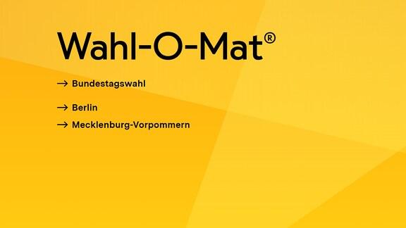 """Ein gelber Bildschirm mit dem Schriftzug """"Wahl-O-Mat"""""""