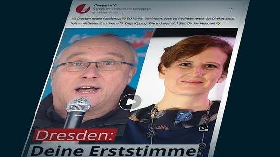 Jens Maier (AfD) (li.) und Katja Kipping (Die Linke) (r.): Campact-Werbung