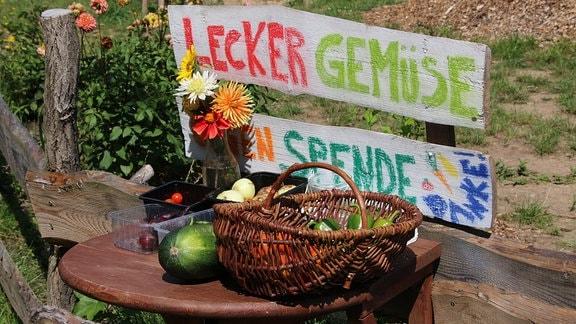 Ein Korb mit Gemüse im Stadtteilgarten Bunte Beete.
