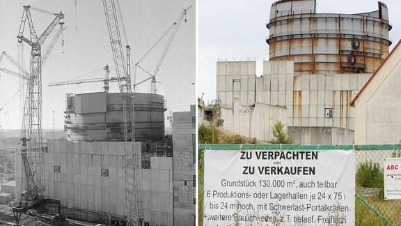 Die zweiteilige Bildgegenüberstellung zeigt Bauarbeiten im Winter 1990 am Reaktor Stendal II im Kernkraftwerk Stendal und die Bauruine mit einem Verkaufsschild