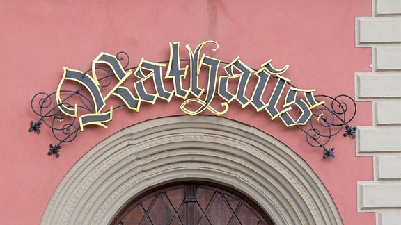 Eingangstor zum Rathaus in Eisenach.