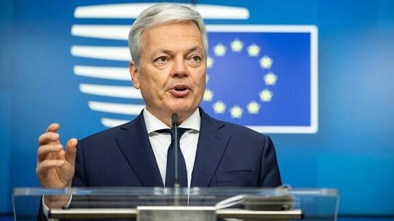 Didier Reynders, EU-Kommissar für Justiz und Rechtsstaatlichkeit, spricht während einer informellen Videokonferenz der EU-Justizminister.