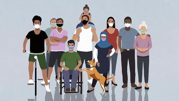 Illustration: Diverse Community - Menschen verschiedenen Alters, Ethnien und Handycaps