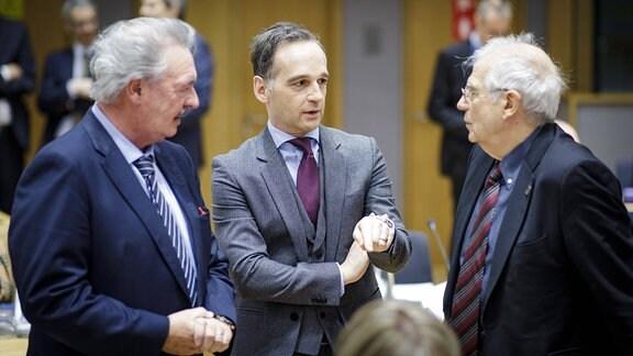Heiko Maas im Gespräch mit Jean Asselborn und Josep Borrell