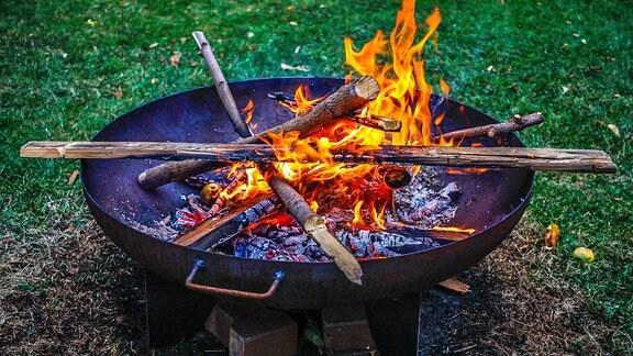 Holz brennt in einer Feuerschale.