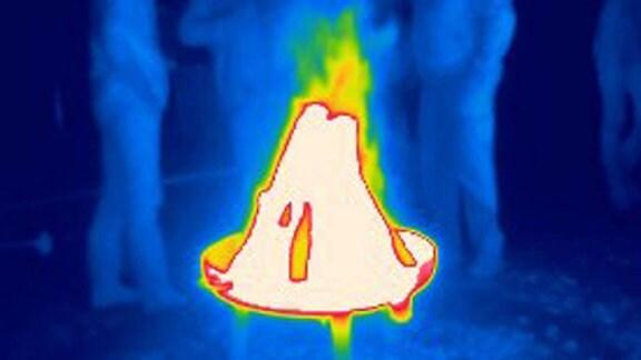 Wärmebild von einer Gruppe Menschen die an einem Feuerschale stehen.