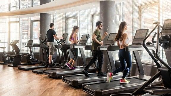Zwei Frauen und zwei Männer trainieren in einem Fitnessstudio auf Laufbändern.