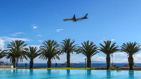 Swimmingpool mit Palmen, Hotelanlage in Santa Cruz, anfliegendes Condor Flugzeug