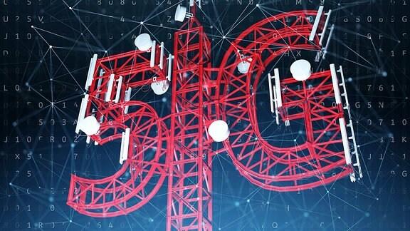 Illustration: 5G - Konzept der drahtlosen Kommunikationstechnologie.