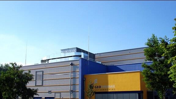 Außenansicht der Geothermieanlage in Unterhaching.