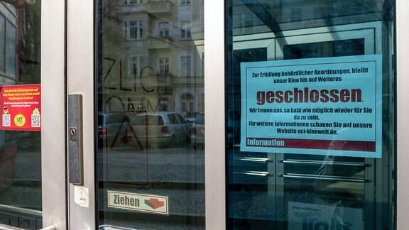 Aufgrund der Corona-Krise bleibt das Kino Colosseum im Berliner Ortsteils Prenzlauer Berg geschlossen