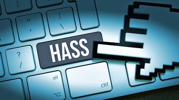 Computertaste mit der Aufschrift Hass