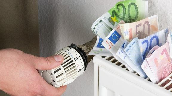 In einem Heizungskoerper befinden sich verschiedene Geldscheine.