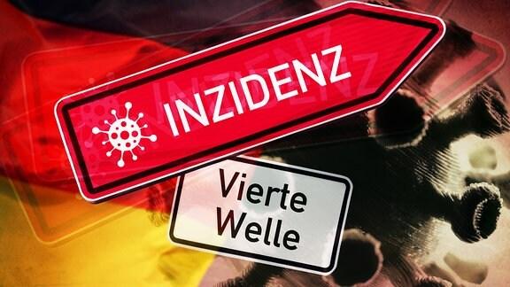 Roter Wegweiser mit Aufschrift 'Inzidenz' und Schild mit Aufschrift 'Vierte Welle' vor Coronavirus und Deutschlandfahne