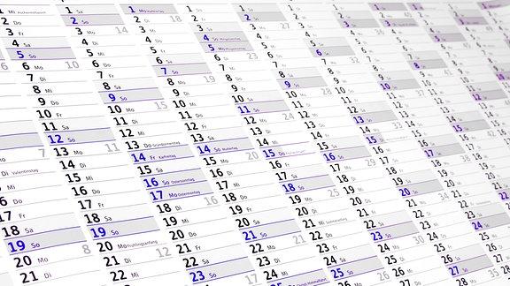 Ein Kalender in der Jahresübersicht.
