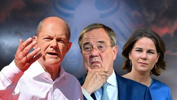 Die Kanzlerkandidaten Olaf Scholz (SPD), Armin Laschet (CDU) und Annalena Baerbock (Bündnis 90/Die Grünen) in einer Fotomontage.
