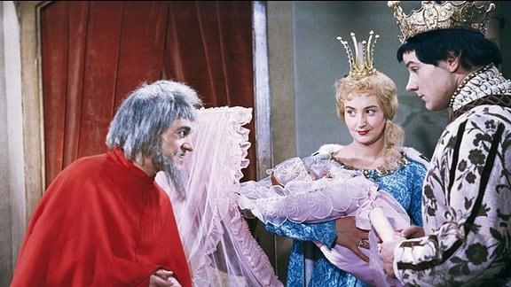 Das Zaubermännchen (1960): Siegfried Seibt (Rumpelstilzchen), Karin Lesch (Marie, die Müllertochter), Nikolaus Paryla (König).