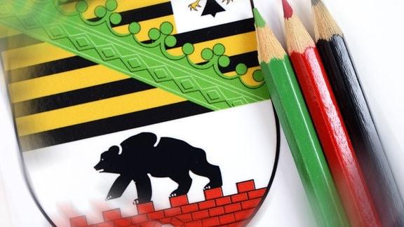 Wappen von Sachsen-Anhalt mit Farbstiften