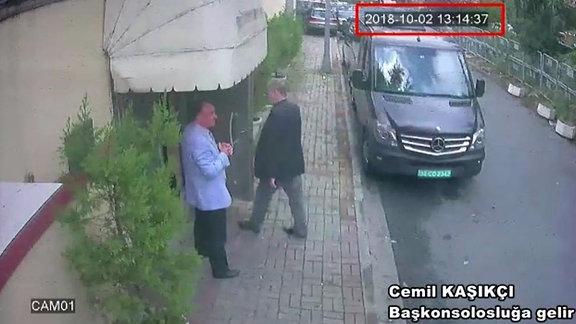 Video-Bild aus Überwachungskamera zeigt Ankunft von Jamal Khashoggi im Konsulat von Saudi-Arabien