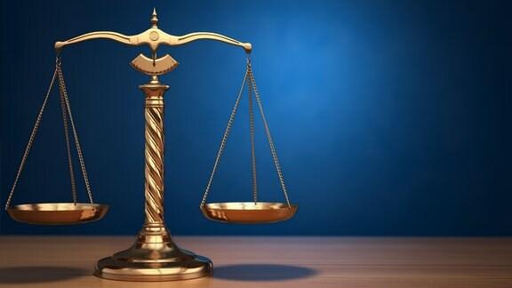 Waage mit zwei ausgeglichenen Waagschalen