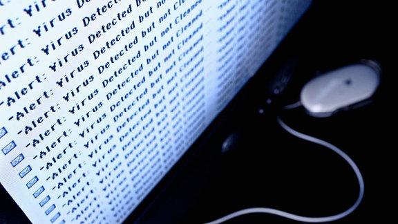 Virenwarnungen auf einem Computermonitor