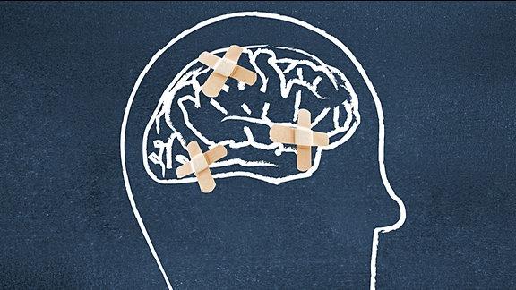 Gehirn mit Pflaster
