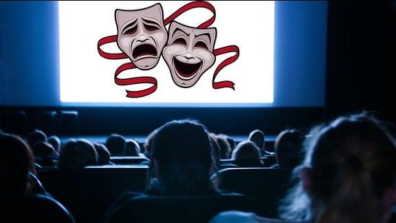 Symbolbild: Emotionen im Kino - Eine weinende und eine lachende Maske auf einer Kinoleinwand.