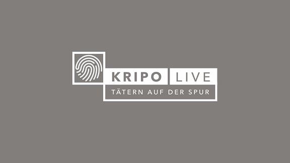 """Logo """"Kripo live - Tätern auf der Spur"""" auf petrol-blauem Hintergrund"""