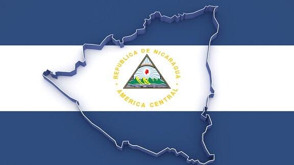 Umrisse Nicaraguas vor nicaraguanischer Flagge