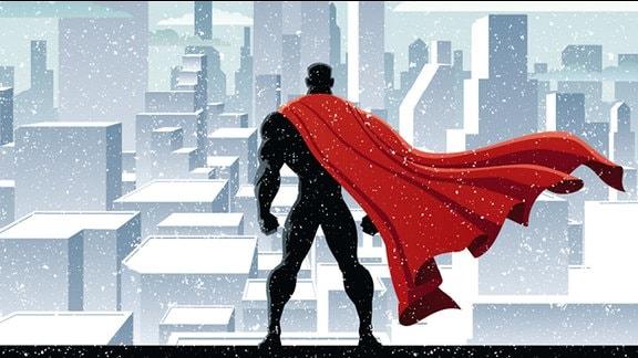 Zeichnung: Ein Superheld steht auf einem Hochhausdach und blickt über die Stadt.