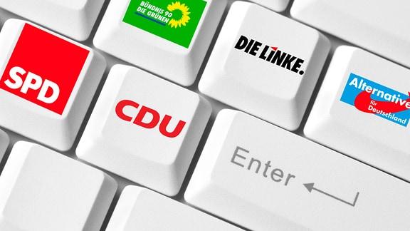 Computertastatur mit Parteienlogos