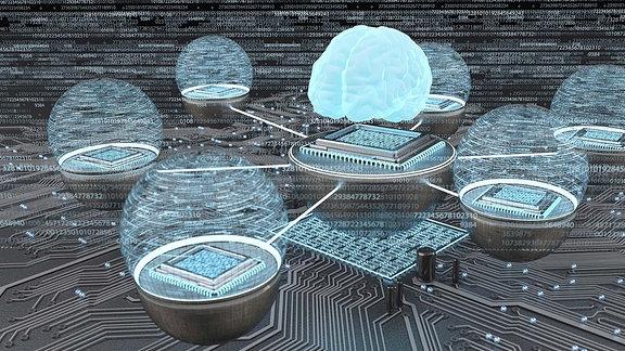 Illustration - Entwicklung der künstlichen Intelligenz, menschliches Gehirn mit vernetzten Mikrochips